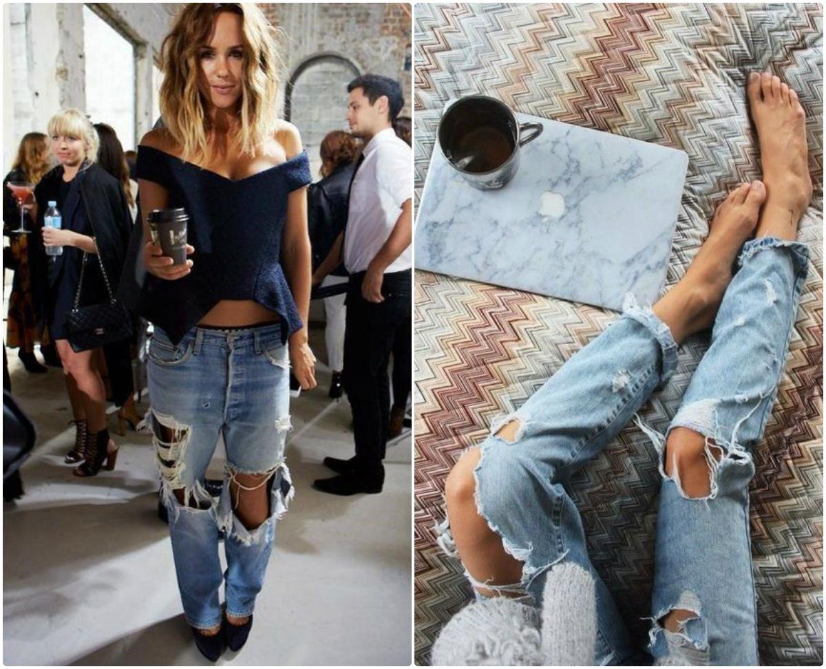 фото рваных джинсов на коленях