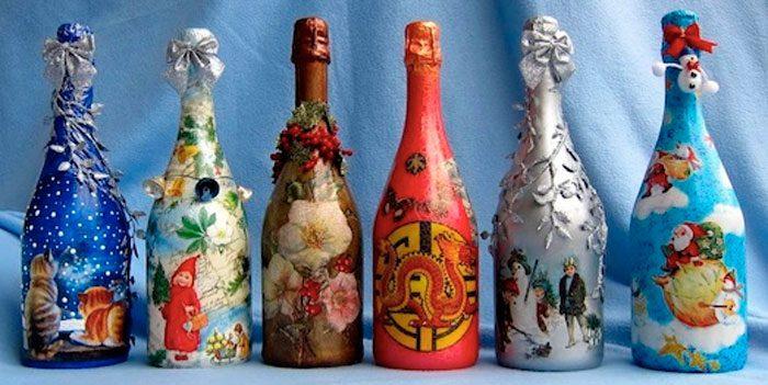 Декупаж из бутылки шампанского