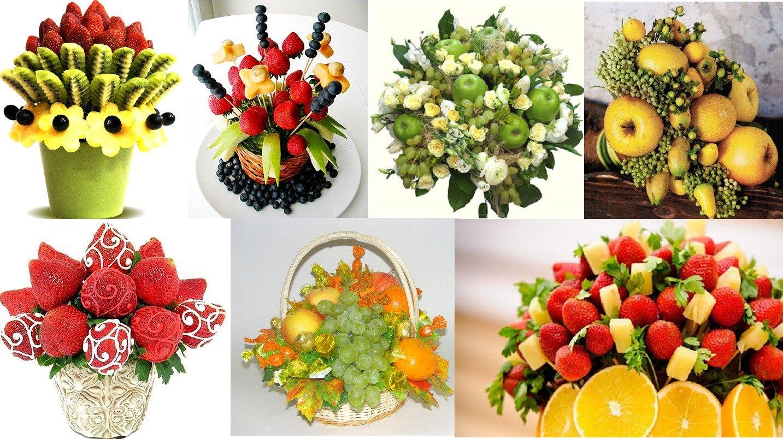 Составление букет из фруктов, искусственные