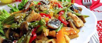Салат с корнишонами, мясом и грибами