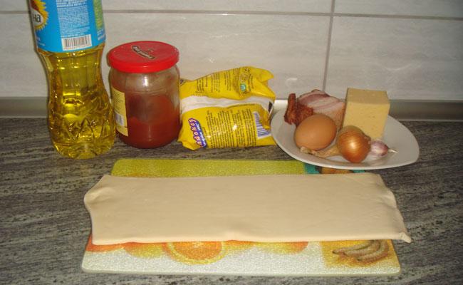 Домашняя пицца на слоеном тесте